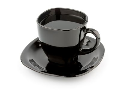 black cup isolated on a white background photo