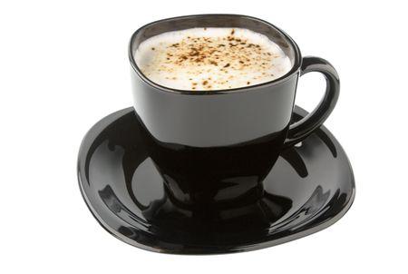 capuchino: negro taza de caf� aislado sobre fondo blanco  Foto de archivo