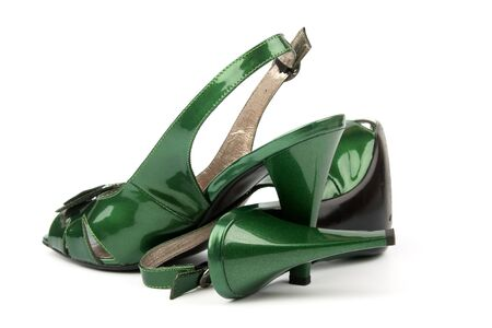Green High Heels Shoes isolated on white background photo