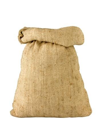 small burlap sack isolated on white background Stock Photo