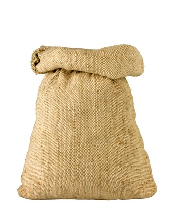 small burlap sack isolated on white background Stock Photo