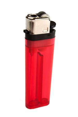 the red lighter isolated on white background photo