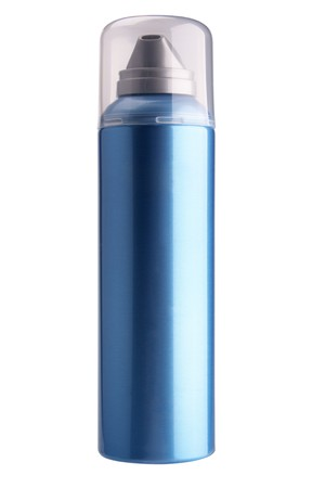 The dark blue aerosol stands on a cover on a white background is isolated. photo