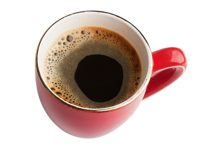 red cup of coffee isolated on white background Stock Photo