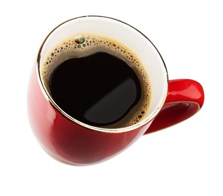 흰색 배경에 고립 된 커피 한잔 빨간색 스톡 콘텐츠
