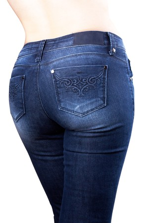 Torso of girl in blue jeans isolated on white background Stock Photo