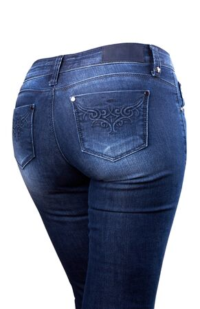 female blue jeans isolated on white background photo