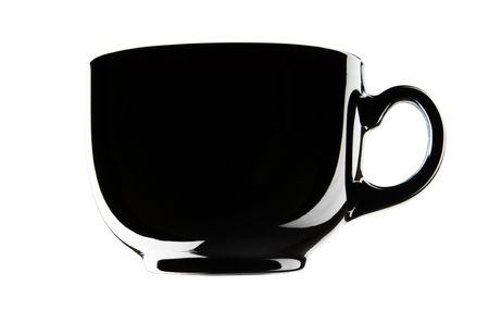 black empty cup isolated on a white background photo