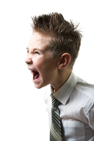 screaming head: Ten year young child screaming with angry face expression isolated on white