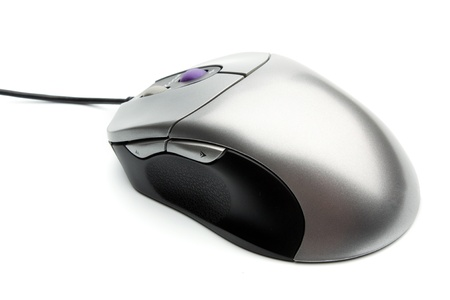 computer mouse with two whell gray and black colors on white background
