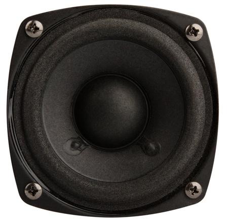 kleine zwarte luidspreker geïsoleerd op witte achtergrond