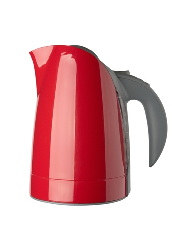 Red water kettle (with clipping path), isolated on white background