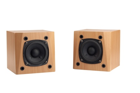 small speakers in wooden box isolated on white