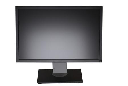 Monitor de equipo de la pantalla LCD (pantalla de cristal l�quido) amplia con la pantalla en blanco. Aislados sobre fondo blanco. Foto de archivo - 9544681