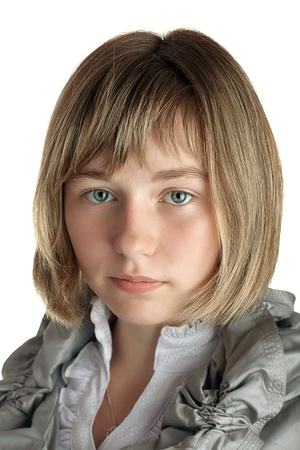 portrait of a girl on a white background isolated photo