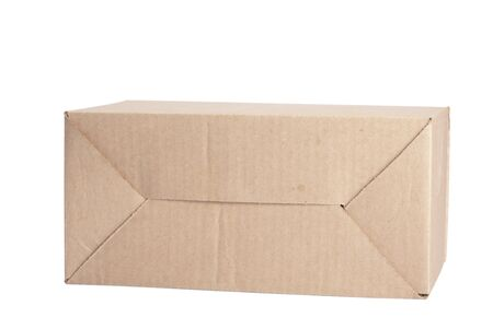 closed cardboard box isolated on the white background photo