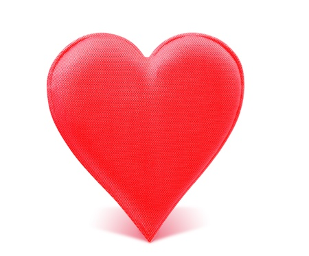 A Fabric Red Heart Isolated On White Background Stock Photo