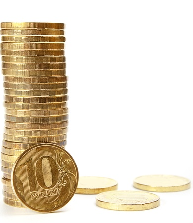 The Stock of Russian Coins on White Background photo