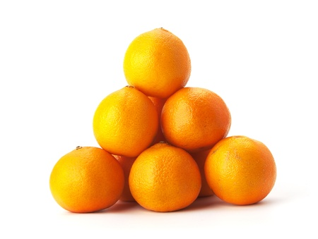 clr: Heap of tangerines isolated on white background Stock Photo