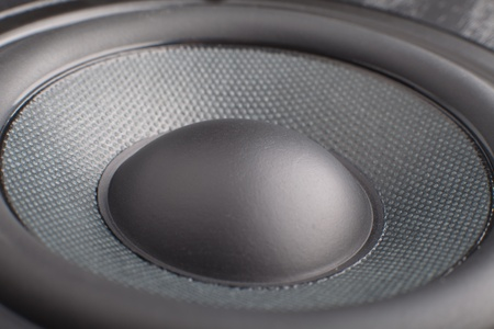musik: the part of black loudspeaker close up Stock Photo