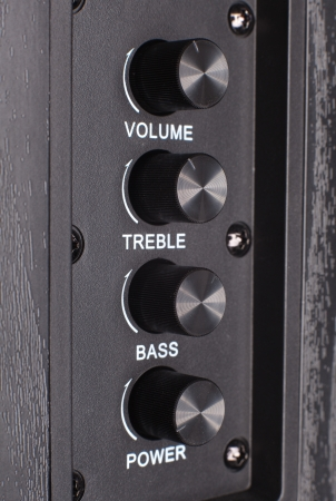 black audio control - volume, treble, bass and power