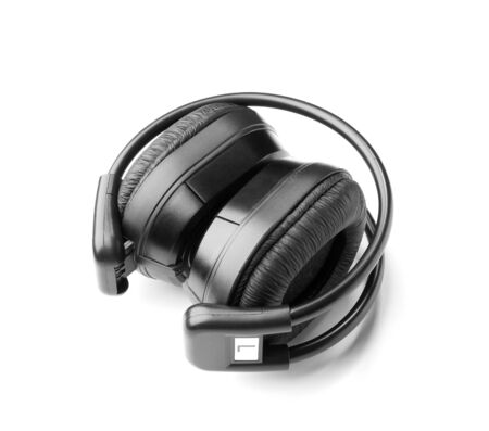 aural: Black headphone for listening music isolated on white background Stock Photo