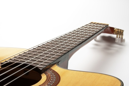 Part of Classic Guitar on White Background