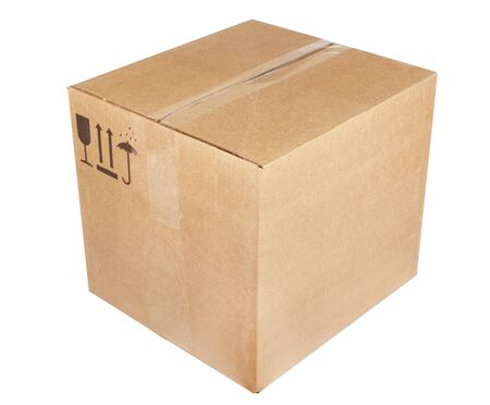 brown box: empty cardboard box isolated on the white background