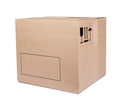 Carboard Box isolated on the white background photo