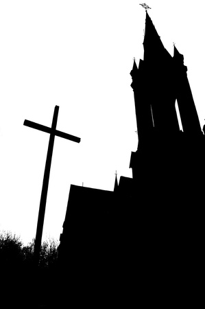 silhouette of the Catholic Church in black and white Reklamní fotografie