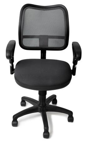 de zwarte bureaustoel op een witte achtergrond