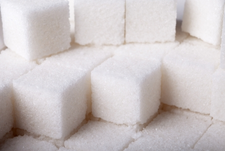 a heap of many white sugar cube photo