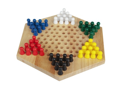 board games: chinese checkers wooden on the white background it is isolated Stock Photo