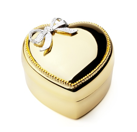 Gold Heart Box with Silver Ribbon isolated on White Background photo