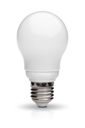 Energy saving light bulb isolated on white background with  clipping path photo
