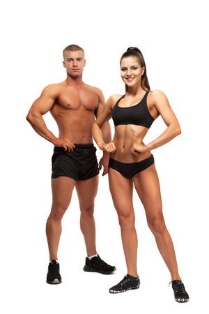 woman fitness: �quipe d'athl�tes entra�neurs isol� sur fond blanc