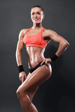 attractive fitness woman, trained female body, caucasian model isolated with clipping path Stock Photo