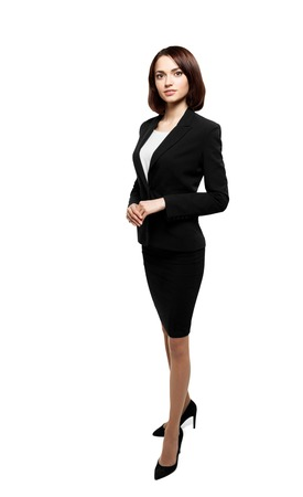 Business people - business woman standing in full body loock at camera isolated on white background with clipping path. Successful business woman.