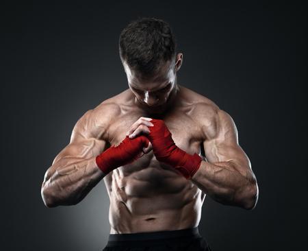 MMA fighter got ready for the fight 版權商用圖片