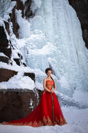 Young beautiful woman in long red dress over winter background Stock Photo