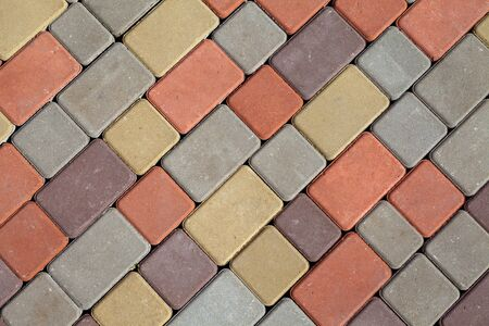 Photo of multi-colored paving stones pattern and background 版權商用圖片