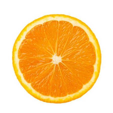 Sliced orange fruit segments isolated on white background Imagens