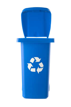 Plastic blue trash can isolated on white background