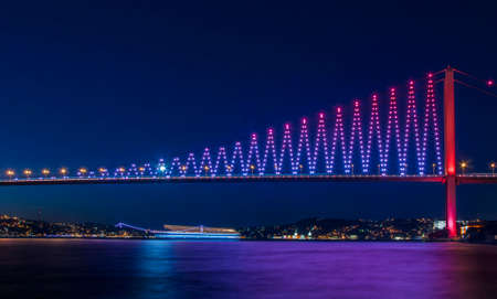Bosphorus Bridge  15th July Martyrs Bridge (July 15 Sehitler bridge). ISTANBUL TURKEY. Stock Photo
