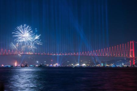 Fireworks over Istanbul Bosphorus during Turkish Republic Day celebrations. 15th July Martyrs Bridge (15 Temmuz Sehitler Koprusu). Istanbul, Turkey.