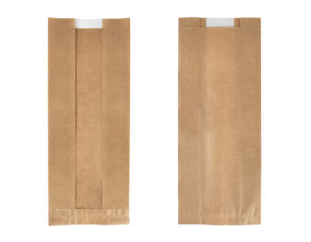 Kraft Paper Single Serve Window Bag. Hygienic bread bag. Recycled paper bag mockup. Paper bag with window. Isolated on white background.