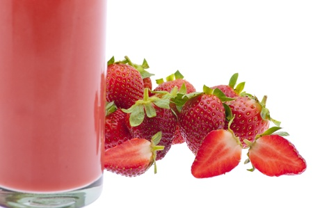 Strawberry Juice with group of strawberry photo