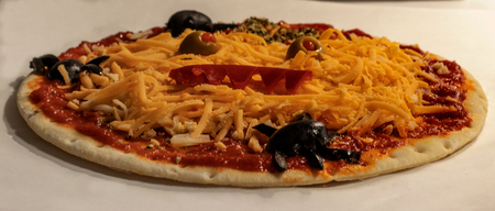 typical dish of halloween monstrous pizza Stok Fotoğraf