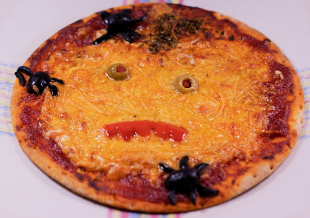 typical dish of halloween monstrous pizza Stock Photo