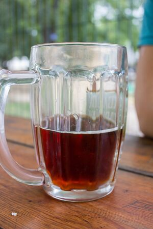 non alcoholic beer: glass of with kvass